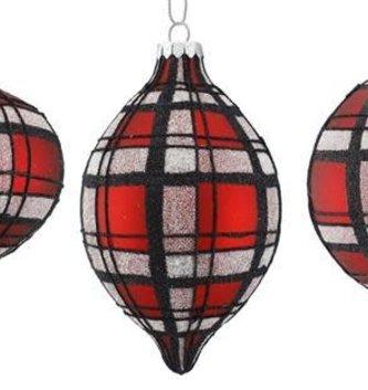 Glitter Glass Plaid Ornament (3 Styles)