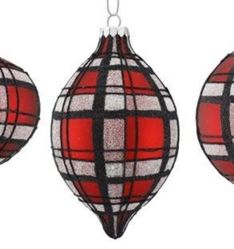 Glitter Glass Plaid Ornament (3 Styles)