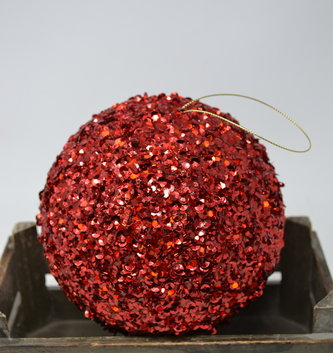 """6"""" Red Sequin Ball Ornament"""