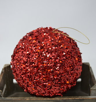 "6"" Red Sequin Ball Ornament"