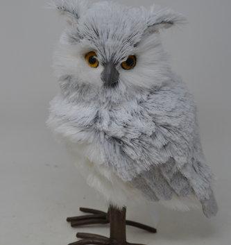 """12"""" Standing Horned Snow Owl"""