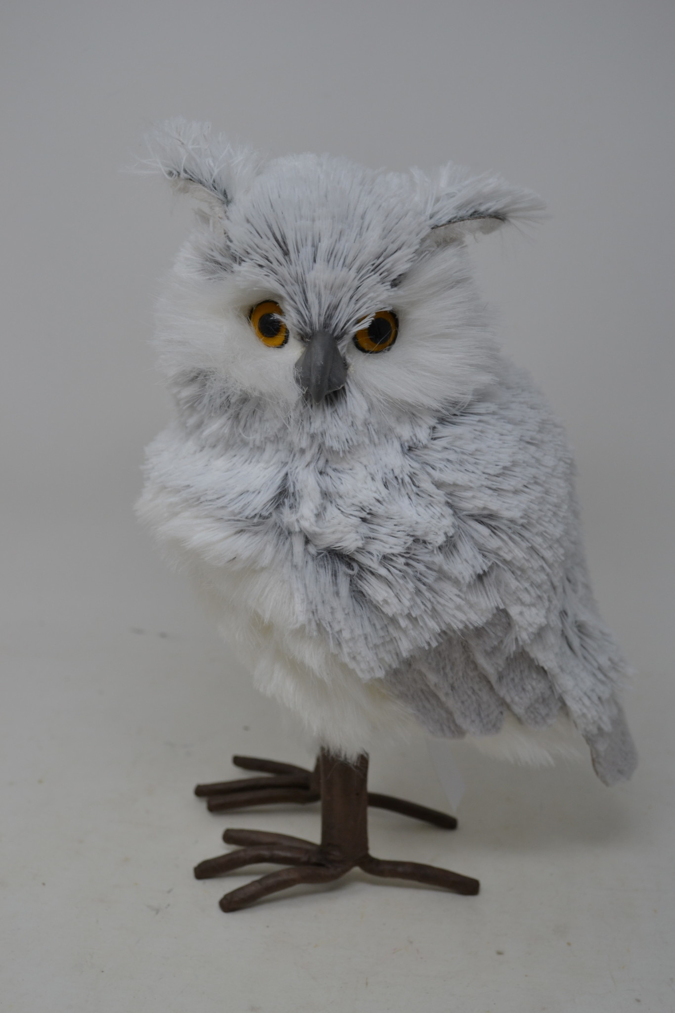 "12"" Standing Horned Snow Owl"