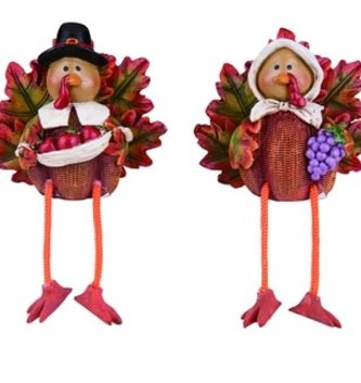 Mr & Mrs Harvest Turkey Shelf Sitters
