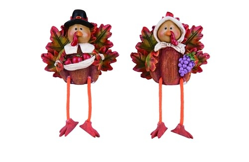 Mr & Mrs Harvest Turkey Shelf Sitters