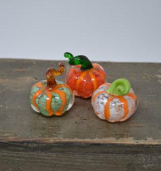 Set of 3 Mini Striped Glass Pumpkins