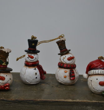 Mini Carved Snowman Ornament (4 Styles)