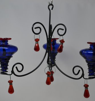 Blue Chandelier Hummingbird Feeder