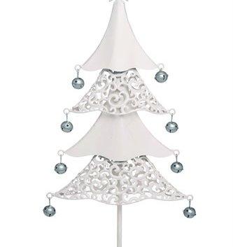 Cream Metal Filigree Tree w/ Bells