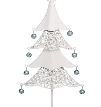 Cream Metal Filigree Tree w/ Bells