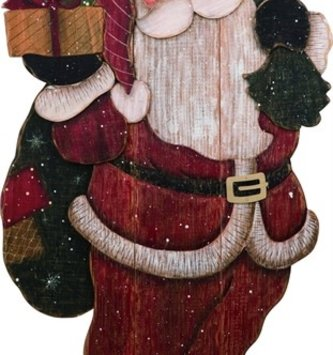 XL Wooden Santa With Presents
