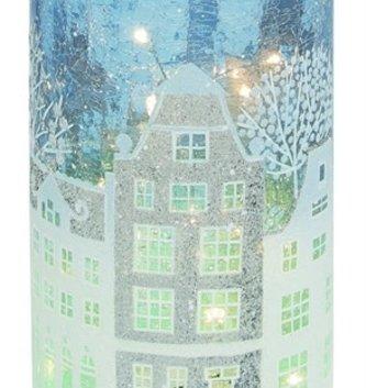 Light Up Crackle Winter Cityscape Cylinder Vase