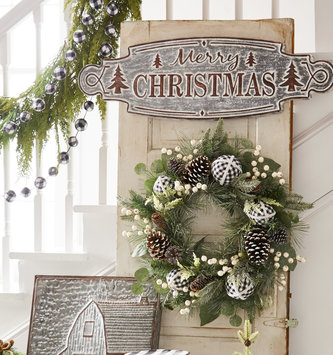 Whitewashed Galvanized Merry Christmas Sign