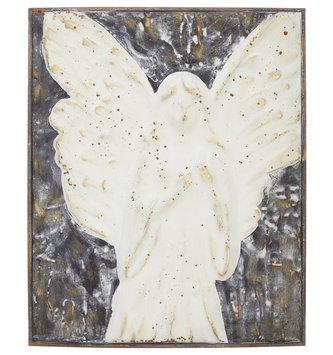 "17.5"" Metal Cream Angel Wall Art"