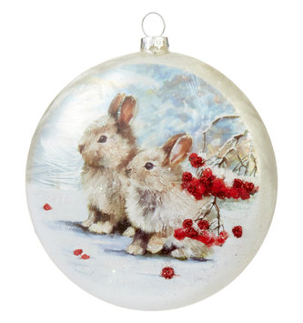 "5"" Winter Bunnies Disk Ornament"