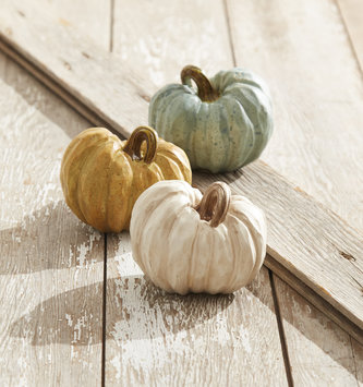 "4.5"" Carved Resin Pumpkin (3 Colors)"