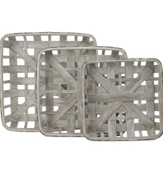 Graywashed Square Tobacco Basket (3 Sizes)