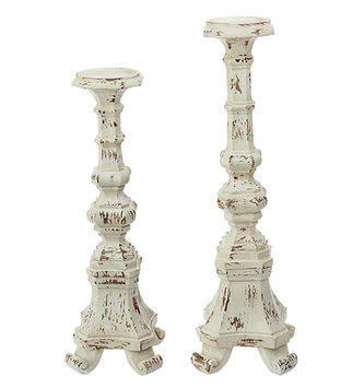 Set of 2 Cream Distressed Candlesticks