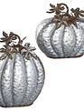 Set of 2 Galvanized Rustic Pumpkins