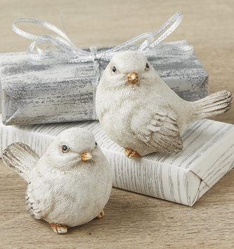 Set of 2 Glitter Snow Birds