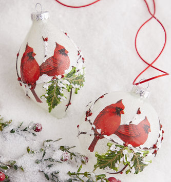 Cardinals on Branch Ornament (2 Styles)