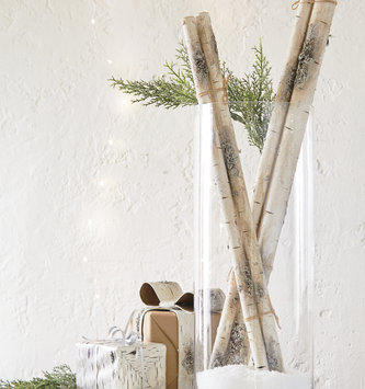 Set of 3 Faux White Birch Sticks
