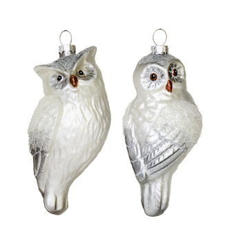 Gray Sparkle Owl Ornament (2 Styles)