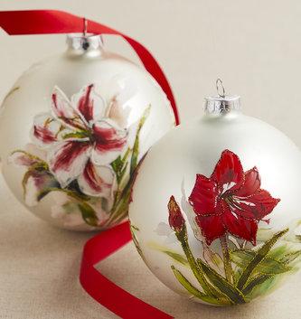 "5"" Glass Amaryillis Ball Ornament (2 Styles)"