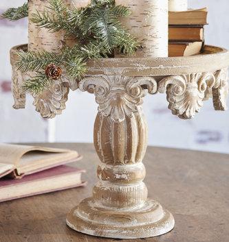 Distressed Wooden Pedestal (2 Sizes)