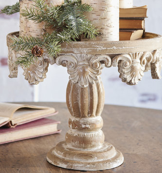 Distressed Wooden Pedestal (2 Sizes)