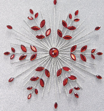 "7"" Red Jeweled Snowflake Ornament"