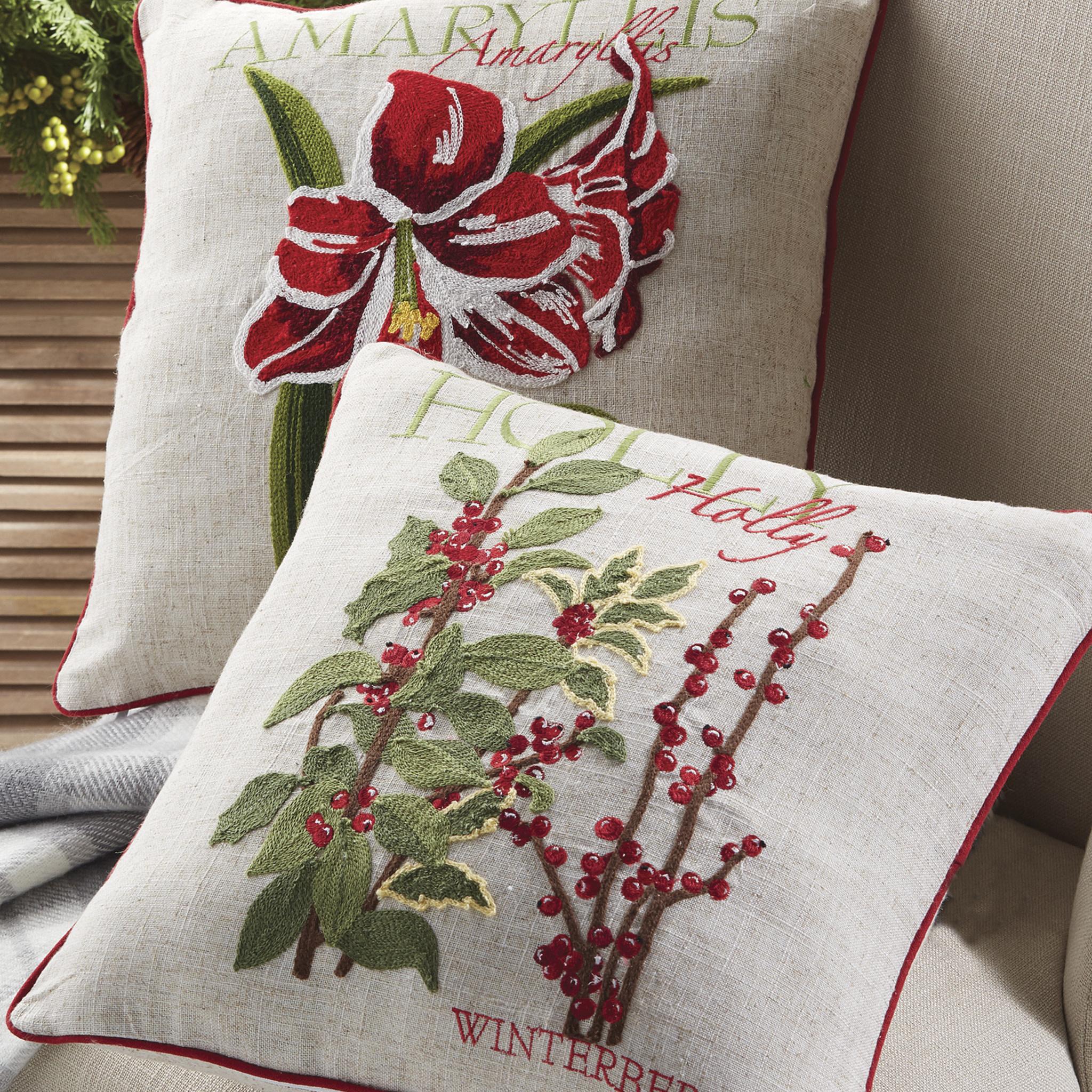 Christmas Pillows.Botanical Embroidered Pillow High Quality Christmas Pillows