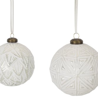 White Patterned Ball Ornament (2 Styles)