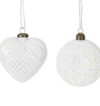 White Patterned Glass Ornament