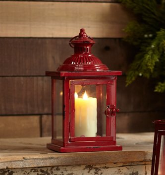 Small Square Red Metal Lantern