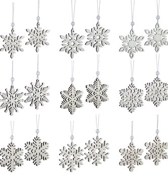 Set of 18 Shimmer Snowflake Ornaments
