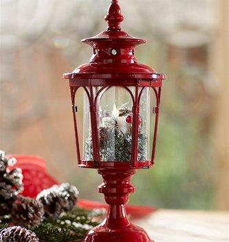 Round Red Metal Pedestal Lantern