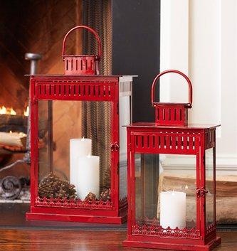 Rectangular Red Metal Lantern