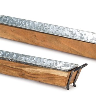 Galvanized Narrow Wooden Tray (2 Sizes)