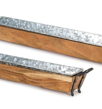 Galvanized Narrow Wooden Tray (2 Sizes)