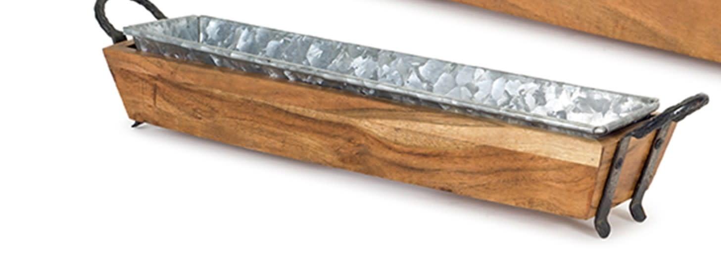 Galvanized Narrow Wooden Tray