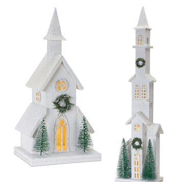 Light-Up Frosted Wooden Church