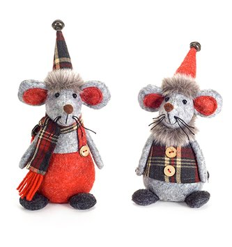 Set of 2 Gray Felt Mice