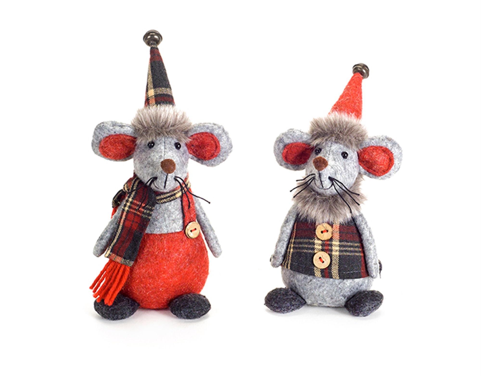 Set of 2 Gray Felt Mice