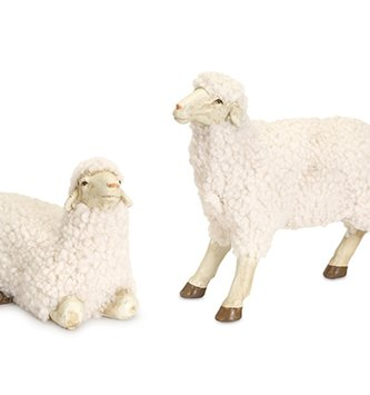 Set of 2 Small Fluffy Sheep