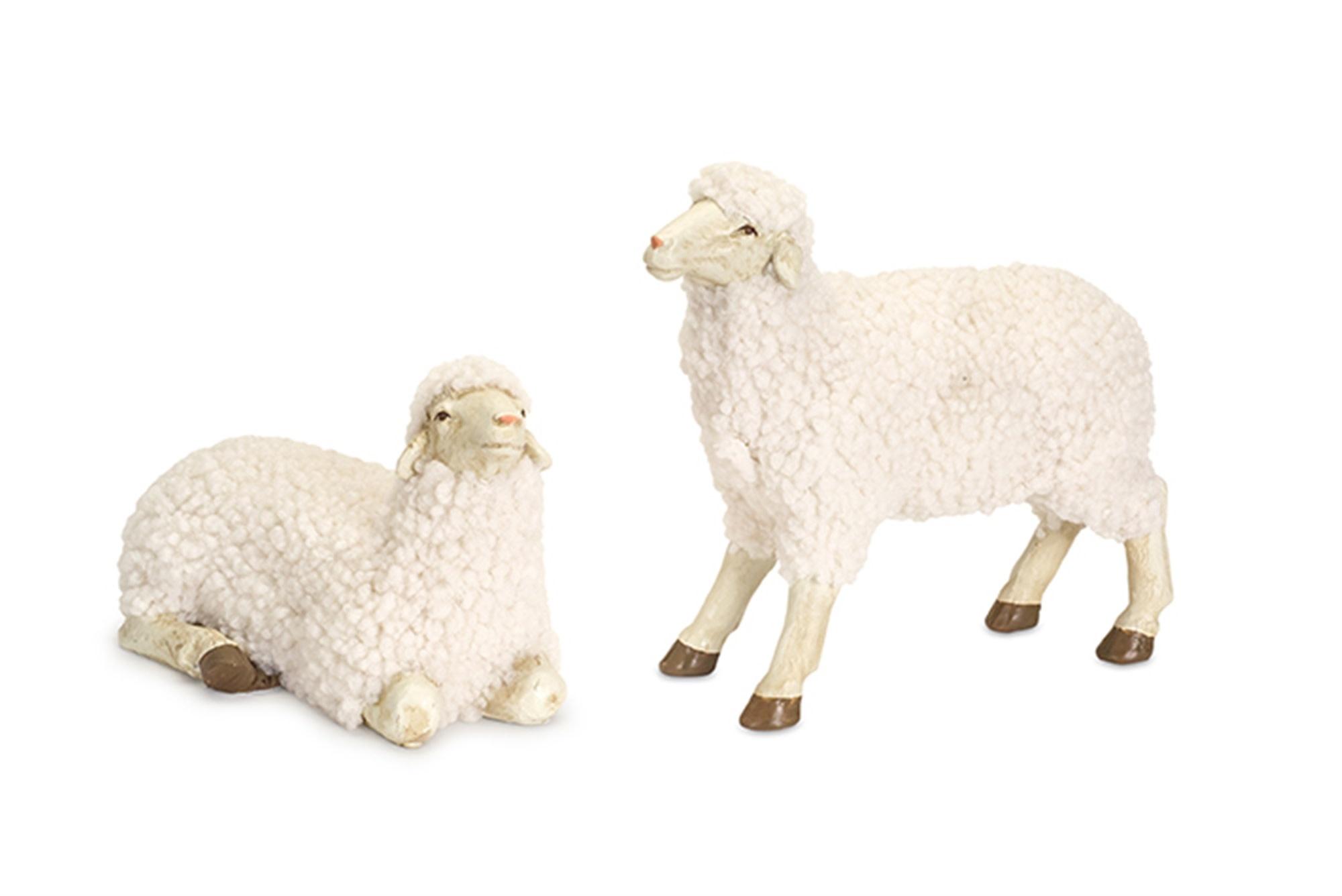 Set of 2 Small Fluffy Sheep