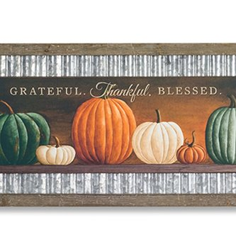 Grateful Thankful Blessed Framed Pumpkin Plaque