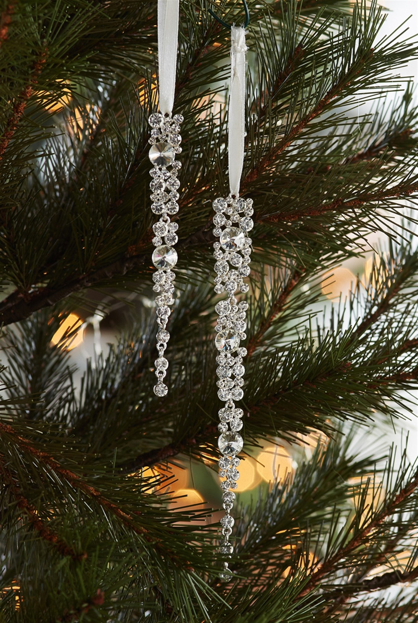 Set of 2 Gem Icicle Ornaments