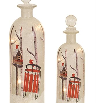 Light Up Frosted Forest Bottle (2 Sizes)