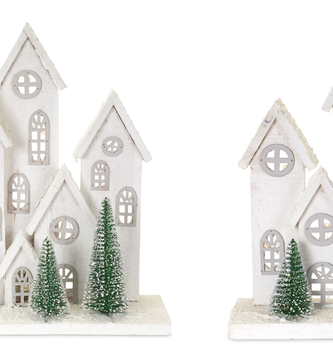 Light-Up Wooden Winter Village