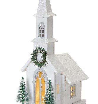 Light Up Wooden Winter Church (2-Styles)